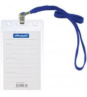 Бейдж вертикальный OfficeSpace, 63*105мм, с клипсой на синем шнурке