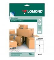 Бумага самоклеящаяся А4 50л. Lomond, белая, 06 фр. (105*99), 70г/м2