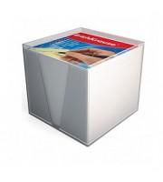 Блок для записей 90х90х90мм, белый, ERICH KRAUSE, подставка прозрачная