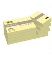 Листки с клейкой полосой 38х51мм 3M Post-it BASIC 653R-BY, 12x100л, канареечный желтый