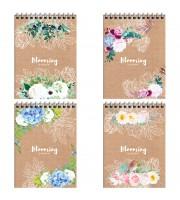 """Блокнот А6 80л. на гребне ArtSpace """"Цветы. Craft flowers"""", глянц. ламинация, твердая обложка"""