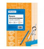 Бумага масштабно-координатная OfficeSpace, А4 16л., оранжевая, на скрепке