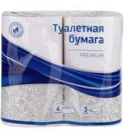 """Бумага туалетная OfficeClean """"Premium"""" 3-слойная, 4шт., тиснение, белая"""