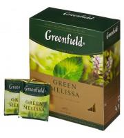Чай зеленый с мелиссой GREENFIELD Green Melissa, 100 пак.