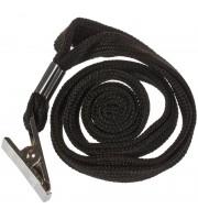 Шнурок для бейджей OfficeSpace, 45см, металлический клип, черный