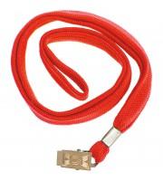 Шнурок для бейджей OfficeSpace, 45см, металлический клип, красный