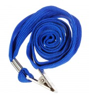 Шнурок для бейджей OfficeSpace, 45см, металлический клип, синий