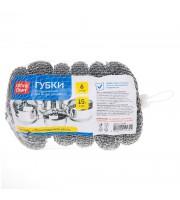 Губки для посуды OfficeClean, металлические, сетчатые, 6шт., 9*3см (15г)