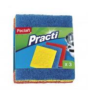Губки для мытья посуды Paclan Practi абразивные 150х125х20 мм 3 штуки в упаковке