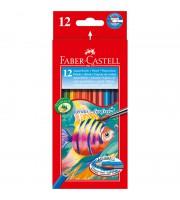 Карандаши акварельные Faber-Castell, 12цв+кисть, картон, европодвес