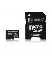 Карта памяти Transcend microSDXC 64Gb Class10 UHS-1 (TS64GUSDU1) + адаптер