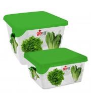Набор контейнеров для прод. Браво квадрат 0,45л+0,75л Салат GR1071СЛТ-ЧМ