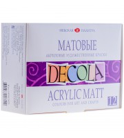 Краски акриловые Decola, 12 цветов, матовые, 20мл, картон