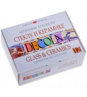 Краски по стеклу и керамике Decola, 12 цветов, 20мл, картон