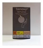 Перчатки смотровые латексные Benovy нестерильные текстурированные неопудренные размер M (50 пар в упаковке)