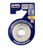 Клейкая лента двусторонняя Unibob, 19мм*1,5м, на вспененной основе, белая, инд. упаковка