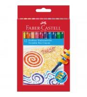 Карандаши восковые Faber-Castell, 12цв., выкручивающийся стержень, картон. упак., европодвес