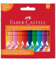 """Мелки пластиковые утолщенные Faber-Castell """"Grip Jumbo"""" 12цв., трехгранные, картон, европодвес"""