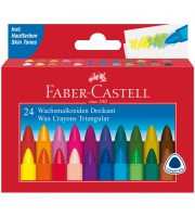 Мелки восковые Faber-Castell, 24 цв., трехгранные, картонная упаковка
