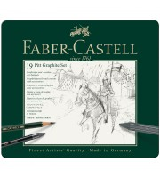 "Набор карандашей ч/г Faber-Castell ""Pitt Graphite"", 19 предметов, заточен., метал. кор."