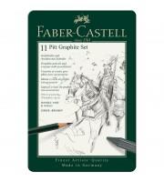 "Набор карандашей ч/г Faber-Castell ""Pitt Graphite"", 11 предметов, заточен., метал. кор."