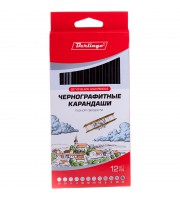 Набор карандашей ч/г Berlingo, 12шт., 3H-3B, заточен., картон. упак., европодвес