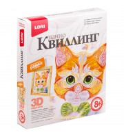 "Квиллинг-панно Lori 3D ""Рыжий котенок"", с рамкой, картонная коробка"