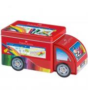 """Набор для рисования Faber-Castell """"Connector Truck"""" 33 фломастера+10 клипс, металлическая коробка"""