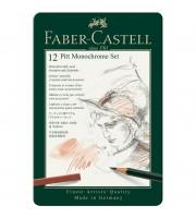 """Набор художественных изделий Faber-Castell """"Pitt Monochrome"""", 12 предметов, метал. кор."""