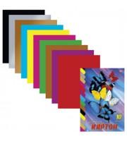 Набор картона А4 10л, 10цв, мелован., цветной, ассорти