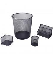 """Настольный набор из металла Berlingo """"Steel&Style"""", 4 предмета, с корзиной, черный"""
