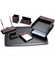 Набор настольный Delucci 7 предметов, черный, красное дерево/декоративный камень