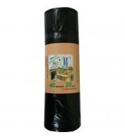 Мешки для мусора на 40 литров с завязками черные (30 мкм, в рулоне 20 штук 55x70 см)