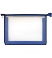 Папка для тетрадей 1 отделение, А4, ArtSpace прозрачная/синяя, пластик, на молнии