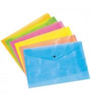 Папка-конверт на кнопке А4 ERICH KRAUSE Neon, 180мкм, ассорти