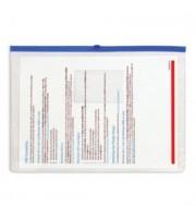Папка-конверт на молнии А4, пластик, застежка по длинной стороне, синий