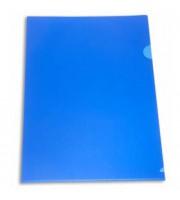 Папка-уголок А4 180мкр жест.пластик синий непрозр.