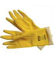 Перчатки резиновые VILEDA Контракт, универс., внутри хлопковое покр., М, желтый