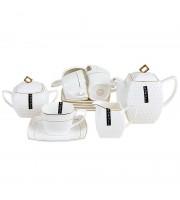 Чайный сервиз фарфоровый Снежная Королева на 6 персон (15 предметов, квадрат)