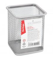 """Подставка-стакан Berlingo """"Steel&Style"""", металлическая, квадратная, серебристая"""