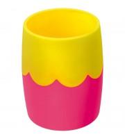 Подставка-стакан Стамм, пластик, круглый, двухцветный розово-желтый