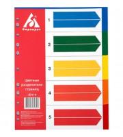 Разделитель листов А4, пластиковый цветной, 5 разделов
