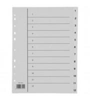 Разделитель листов А4, пластиковый цифровой, 12 разделов