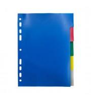 Разделитель листов А5, пластиковый цветной, 5 цветов