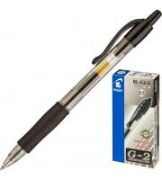 Ручка гелевая автоматическая PILOT BL-G2-5-B, с резиновым держателем, прозрачный корпус, черный