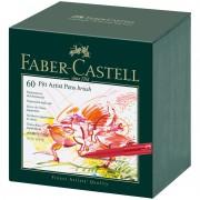 """Набор капиллярных ручек Faber-Castell """"Pitt Artist Pen Brush"""" ассорти, 60шт., студийная коробка"""