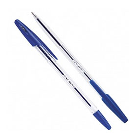 Ручка шариковая ERICH KRAUSE R-301, прозрачный корпус, синий