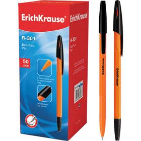 Ручка шариковая ERICH KRAUSE R-301, оранжевый корпус, черный