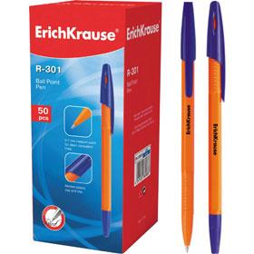 Ручка шариковая ERICH KRAUSE R-301, оранжевый корпус, синий