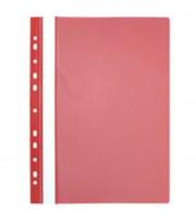 Папка-скоросшиватель пластиковый, с перфорацией, красный